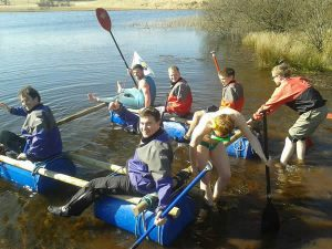 Stag party - raft building